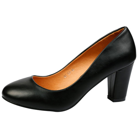 Leona Mid Heel Court Shoes in Black Faux Suede
