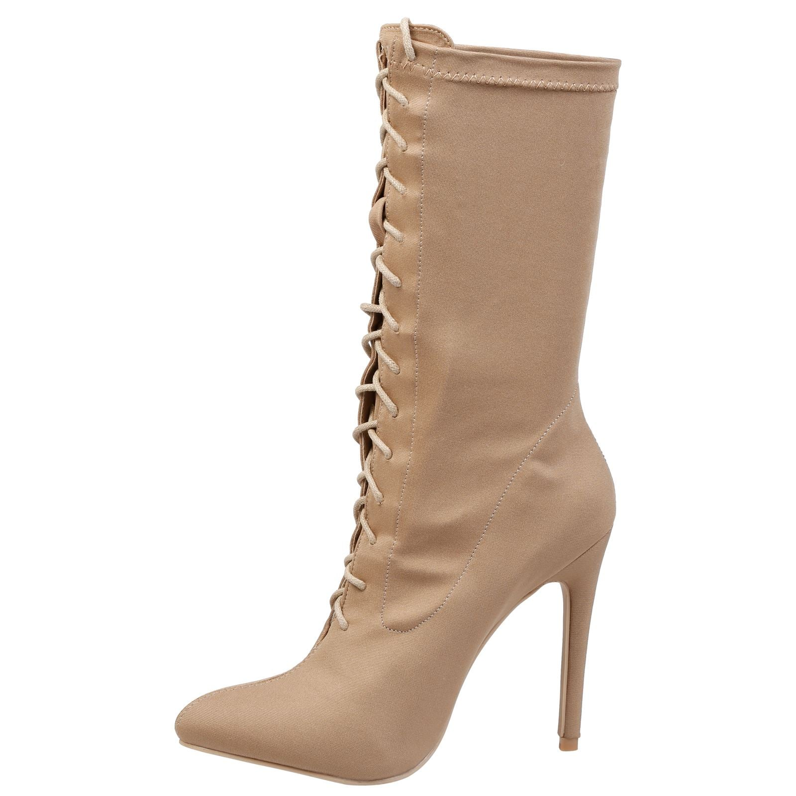 Crystal Lace Up Mid Calf Boots in Nude - Feet First Fashion