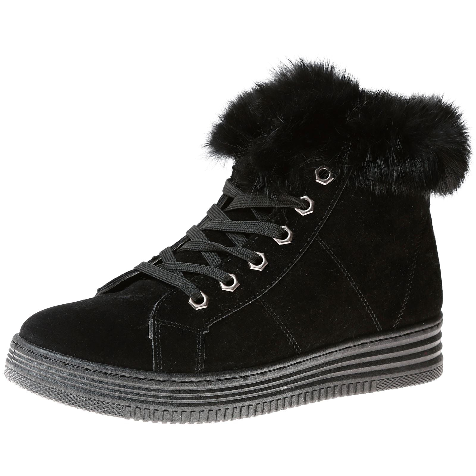 Jaina Fur Lined High Top Trainers in Black Faux Suede