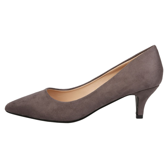 Miranda Kitten Heel Pointed Toe Court Shoes in Grey Faux Suede