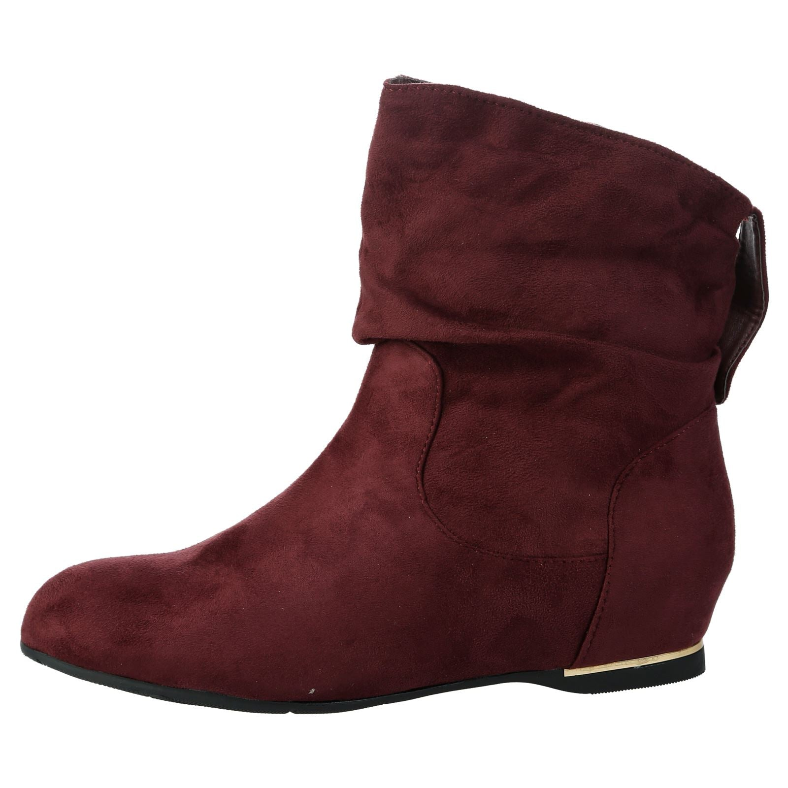 Daphne Hidden Wedge Slouchy Ankle Boots in Wine Red Faux Suede