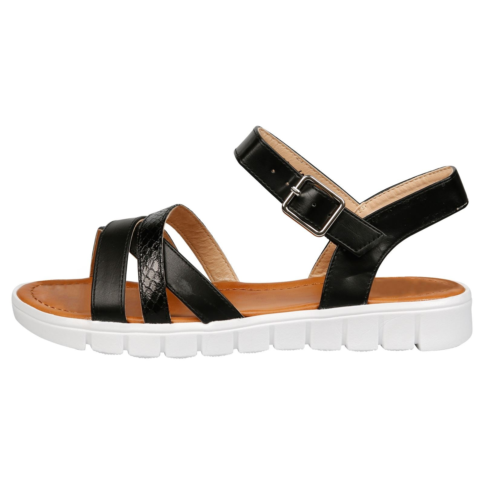 Rosalie Flat Strappy Sandals in Black