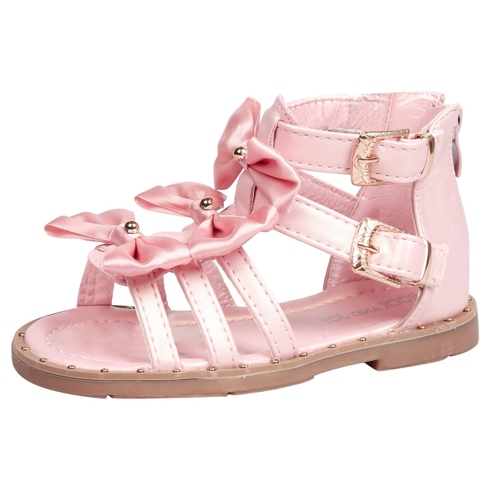 Larissa Girls Satin Bow Detail Gladiator Sandals in Pink Faux Leather - Feet First Fashion