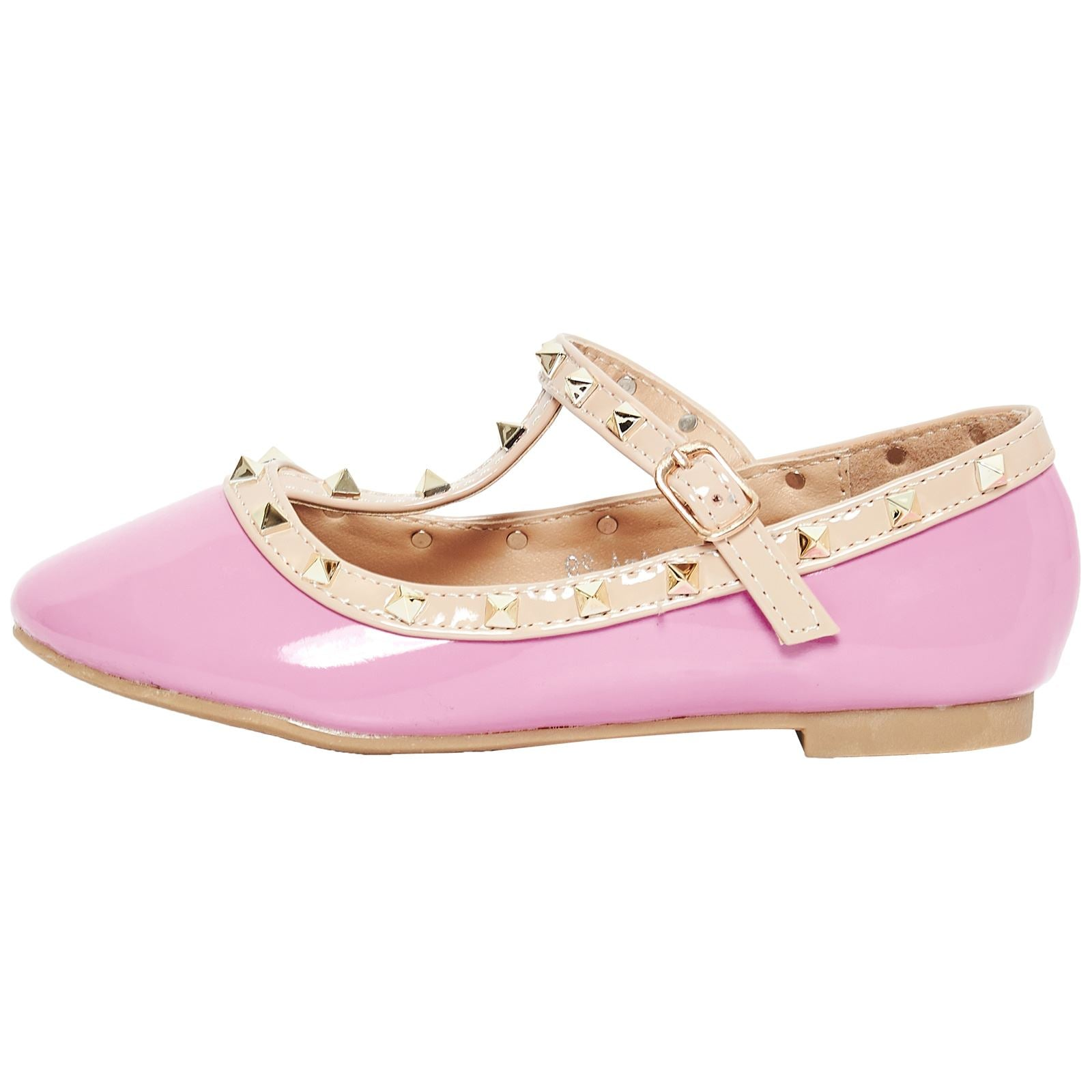 Marleigh Girls Studded T-Strap Flat Shoes in Pink Patent
