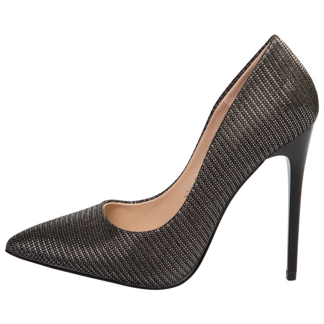 Laverne Pointed Toe Court Shoes in Black Shimmer