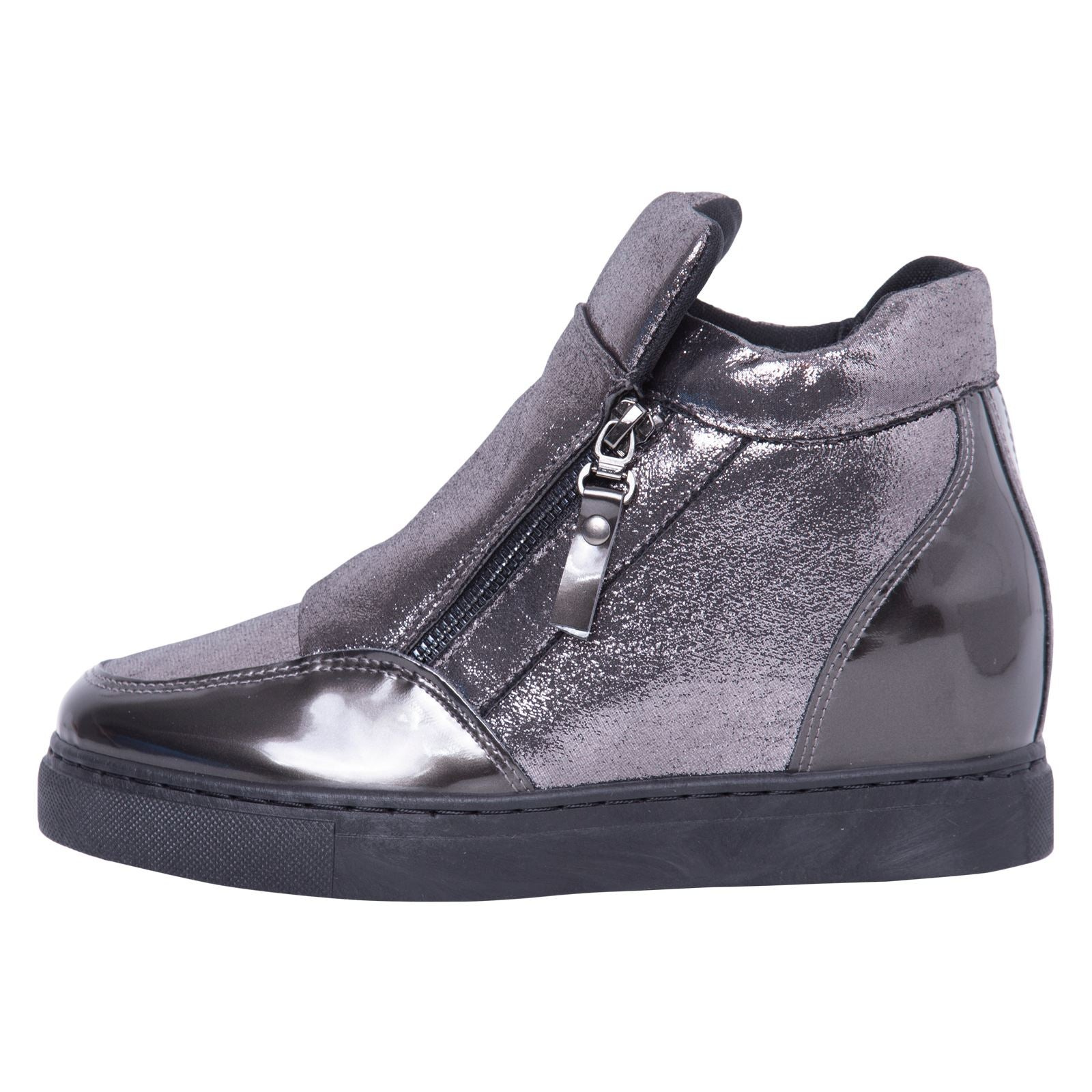 Kacee Stylish Wedge Trainers in Gun With Shimmer - Feet First Fashion