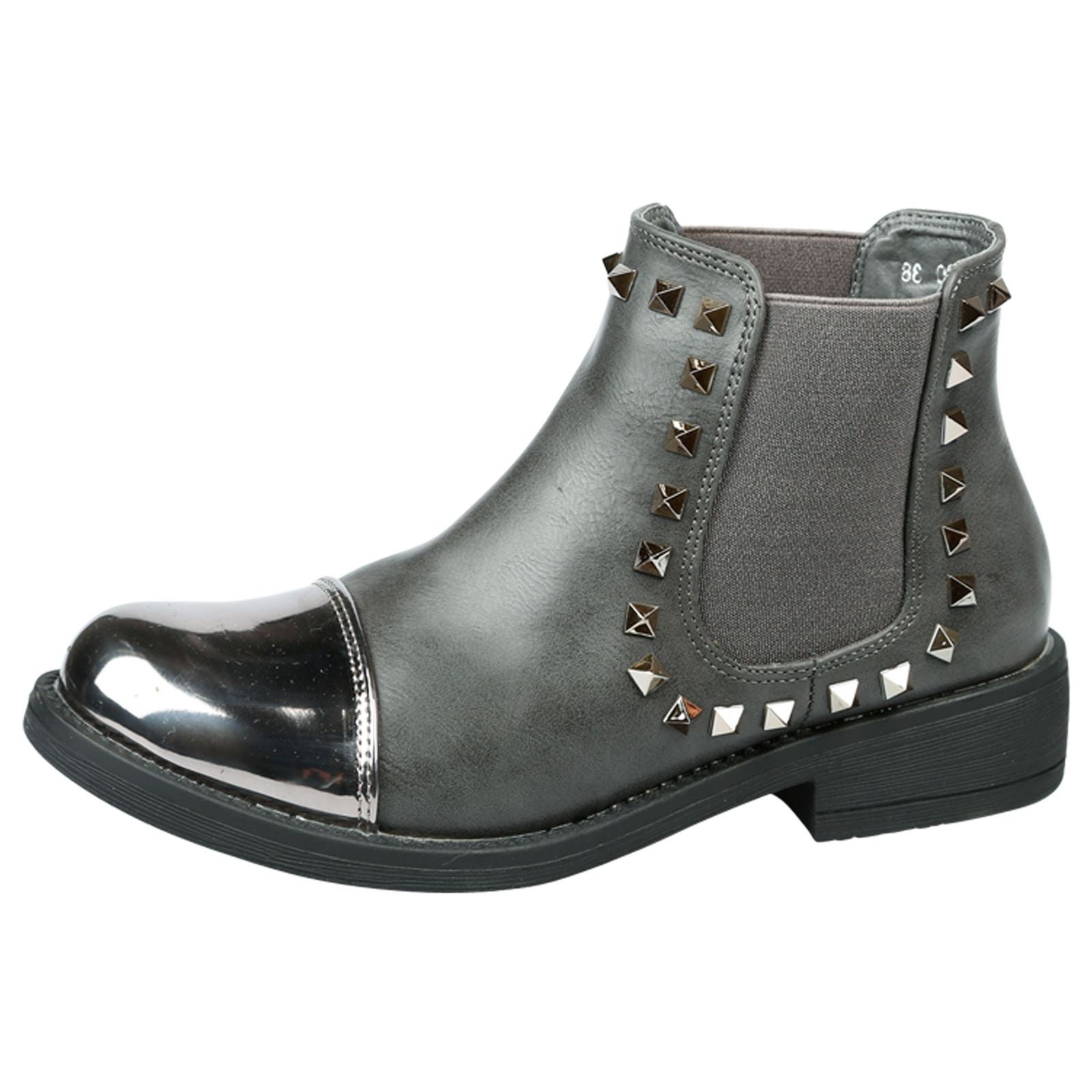 Ciara Studded Chelsea Boots in Grey Faux Leather