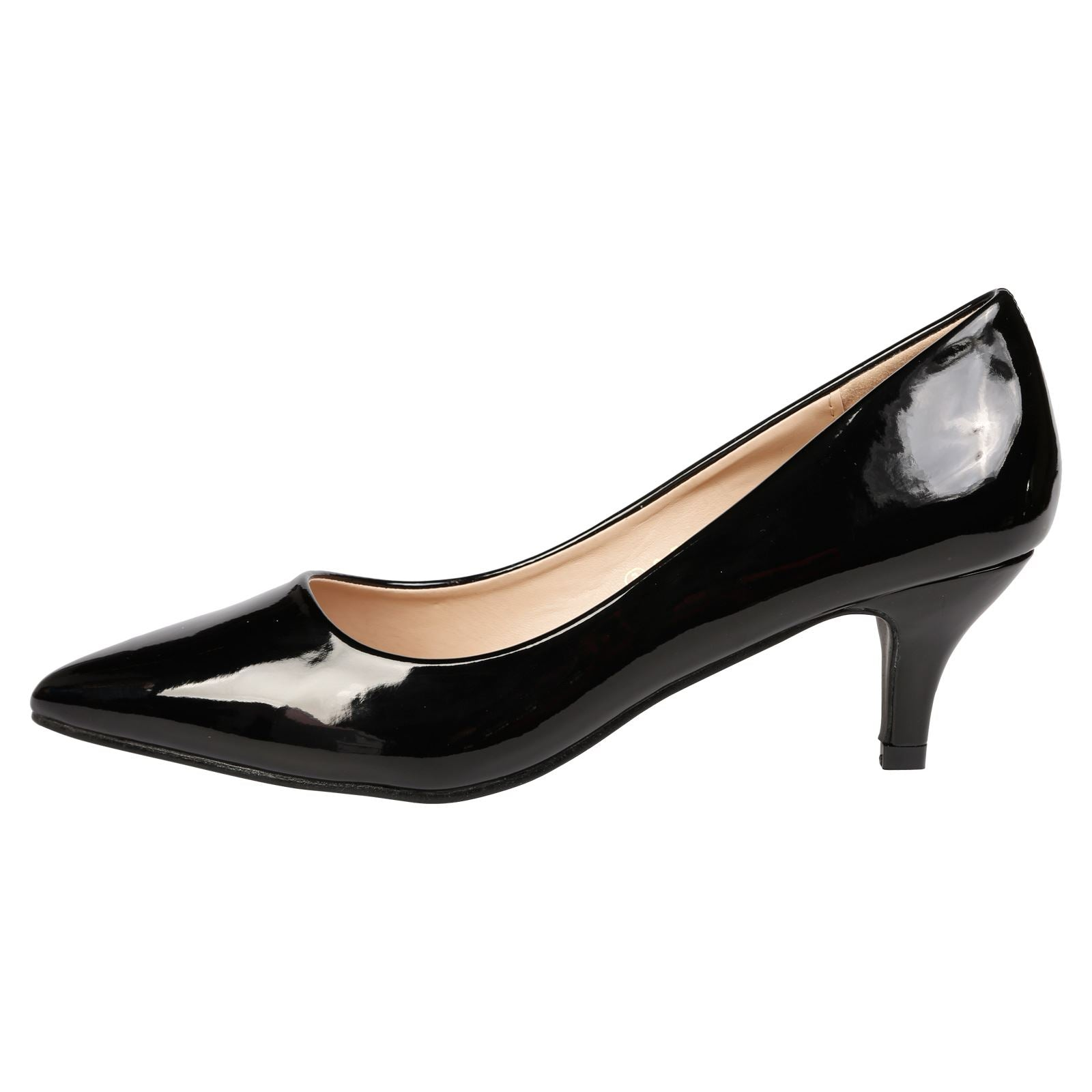 Miranda Kitten Heel Pointed Toe Court Shoes in Black Patent