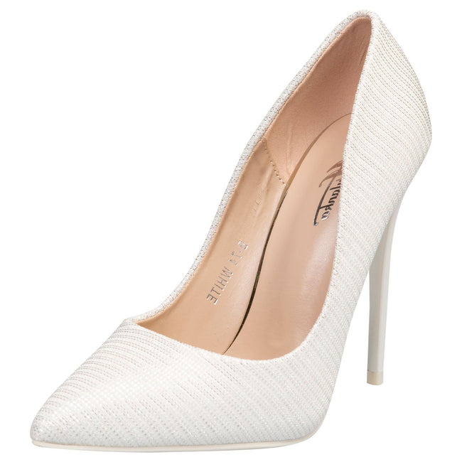 Laverne Pointed Toe Court Shoes in White Shimmer