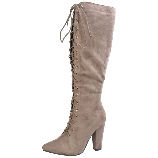 Peyton Pointed Toe Lace Up Mid Calf Boots in Khaki Taupe Faux Suede