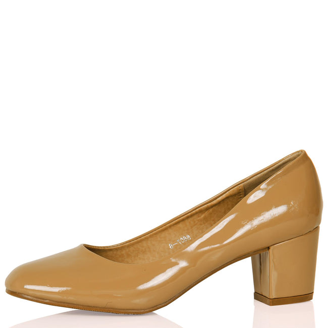 Yvonne Classic Block Heel Court Shoes in Khaki Tan Patent - Feet First Fashion