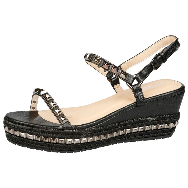 Tiffany Studded Platform Wedge Espadrille Sandals in Black Faux Leather