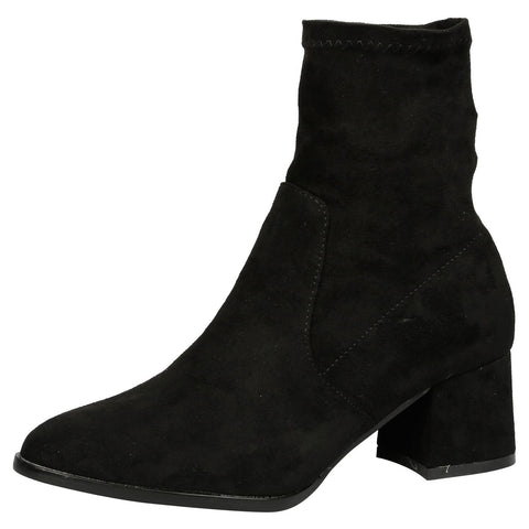 Everleigh Heeled Ankle Boots in Black Faux Suede