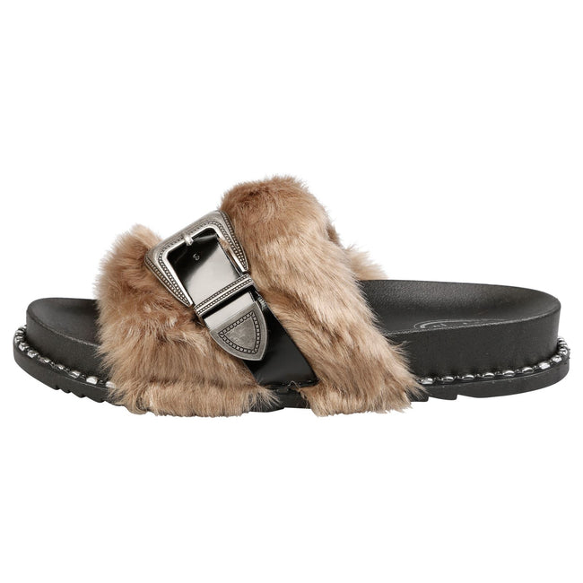 Taya Buckled Furry Sliders in Tan
