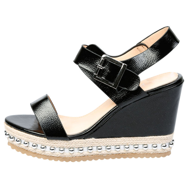 Sherri Wedge Heel Studded Espadrille Sandals in Black