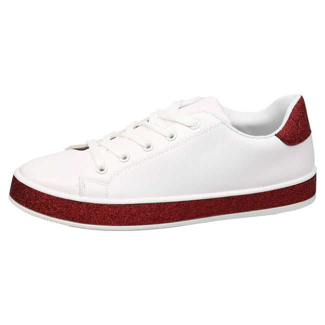 Koko Leather Look Skater Pumps in White with Red Glitter