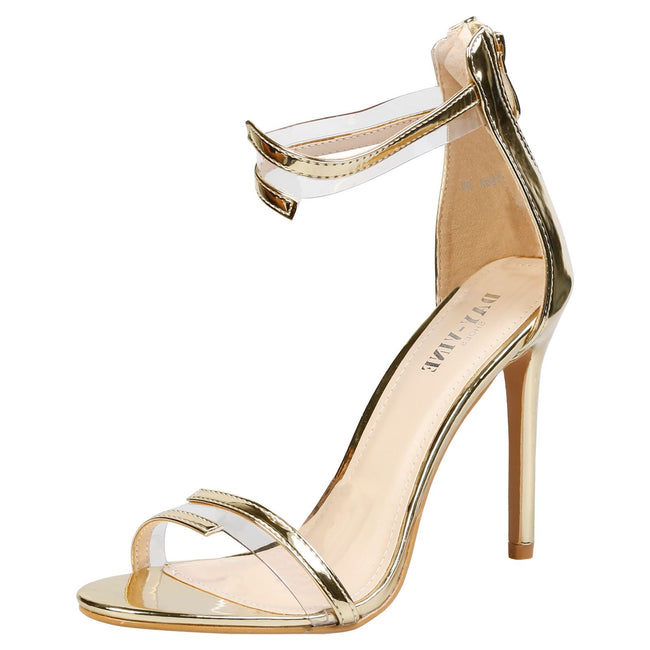 Stella Barely There Stiletto Sandals in Gold Patent