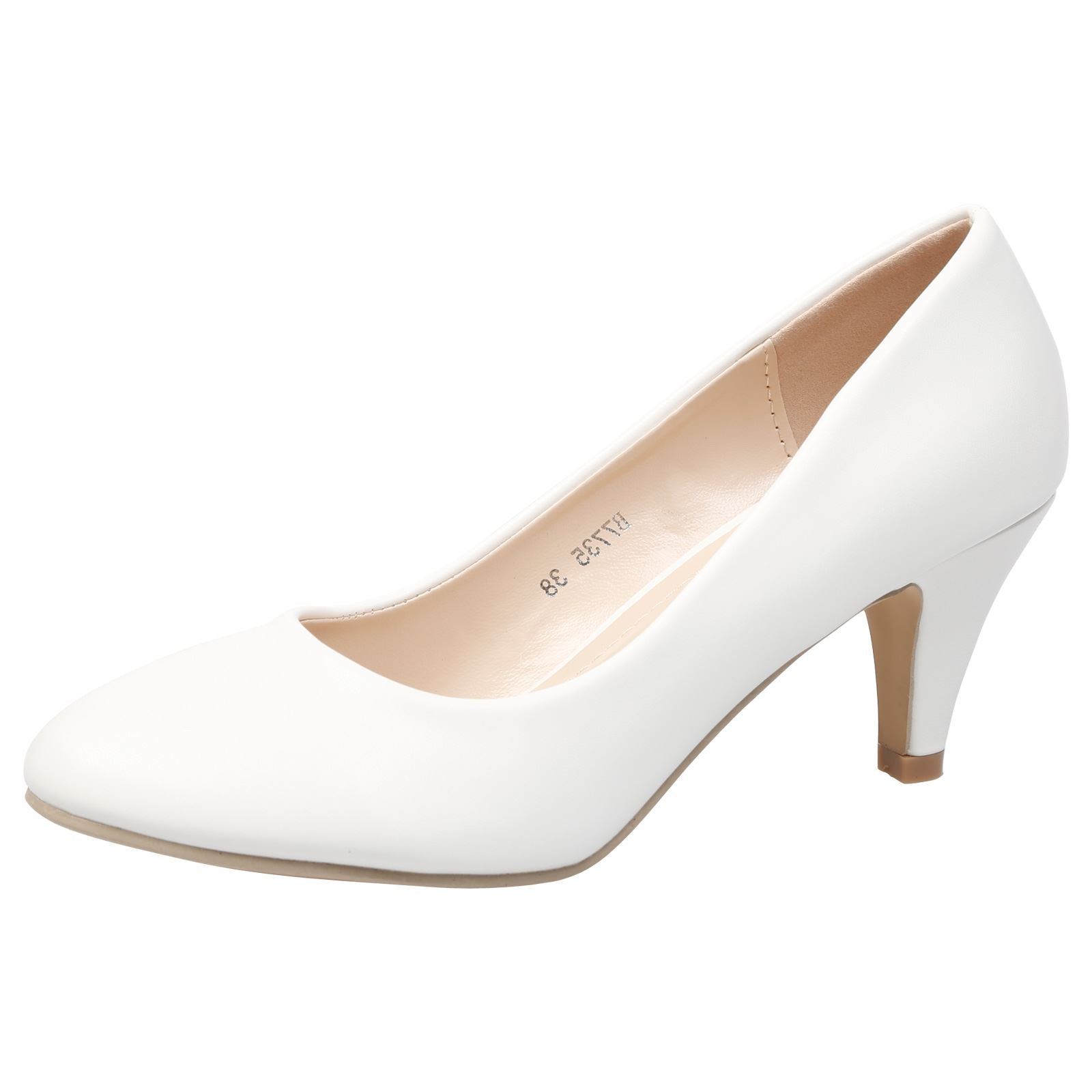 Leona Mid Heel Court Shoes in White Faux Leather