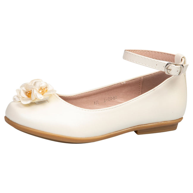 Nellie Girls Floral Ballerinas in Beige Faux Leather - Feet First Fashion