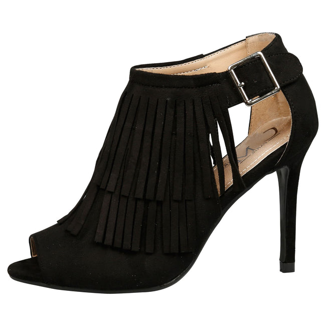 Zaha Fringed Peep Toe Booties in Black Faux Suede