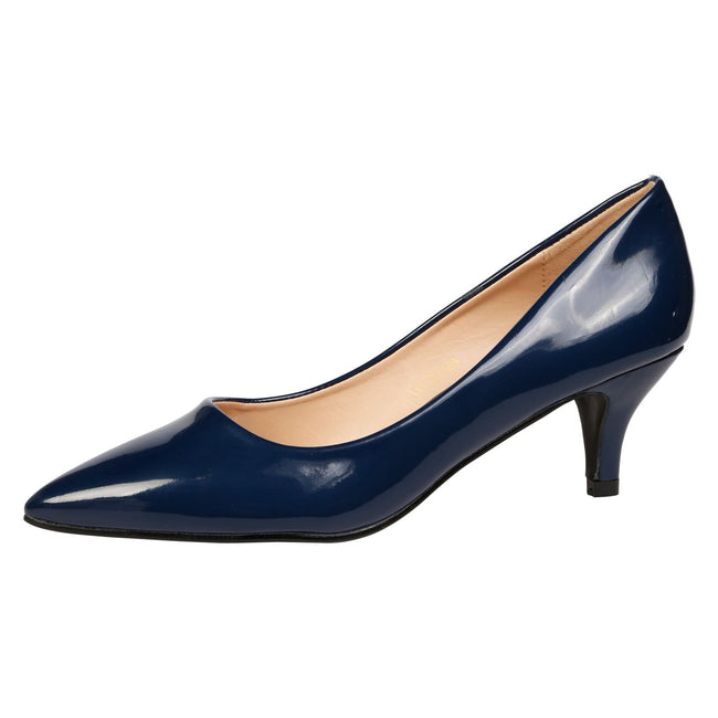 Miranda Kitten Heel Pointed Toe Court Shoes in Navy Patent