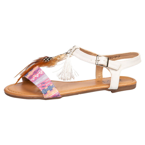 Joselyen Two Tone Footbed Sandals in White