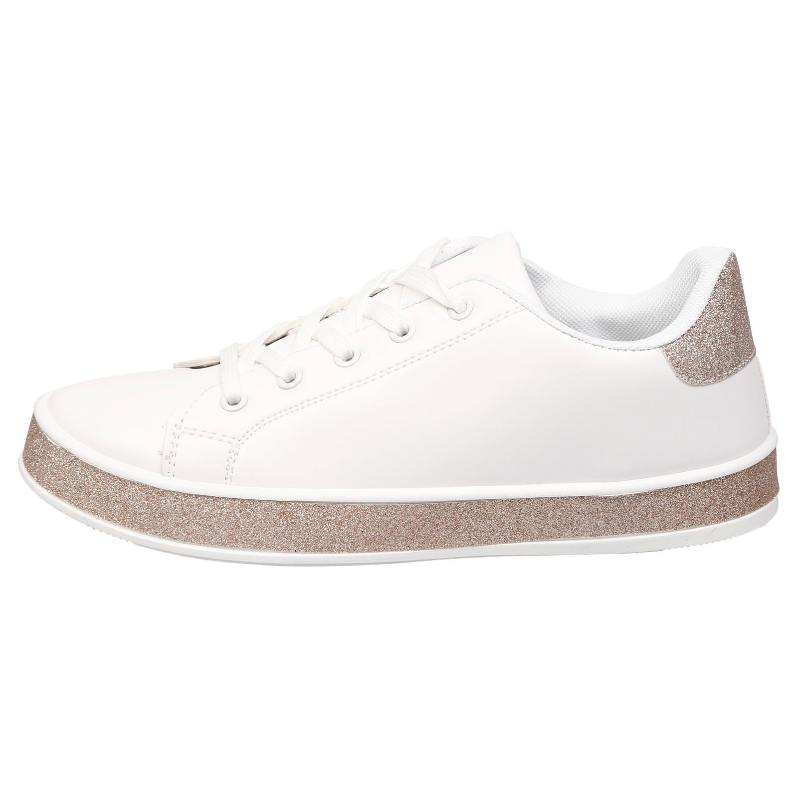 Koko Leather Look Skater Pumps in White with Rose Gold Glitter