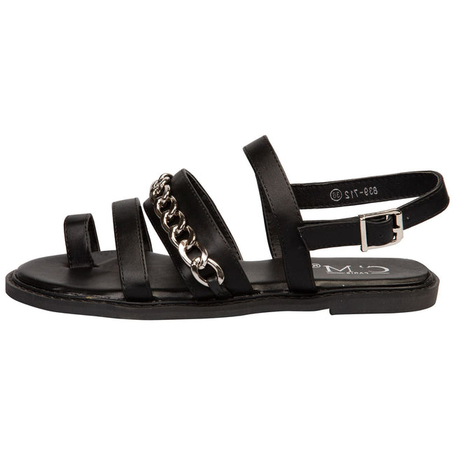 Samantha Toe Ring Chain Sandals in Black Faux Leather - Feet First Fashion