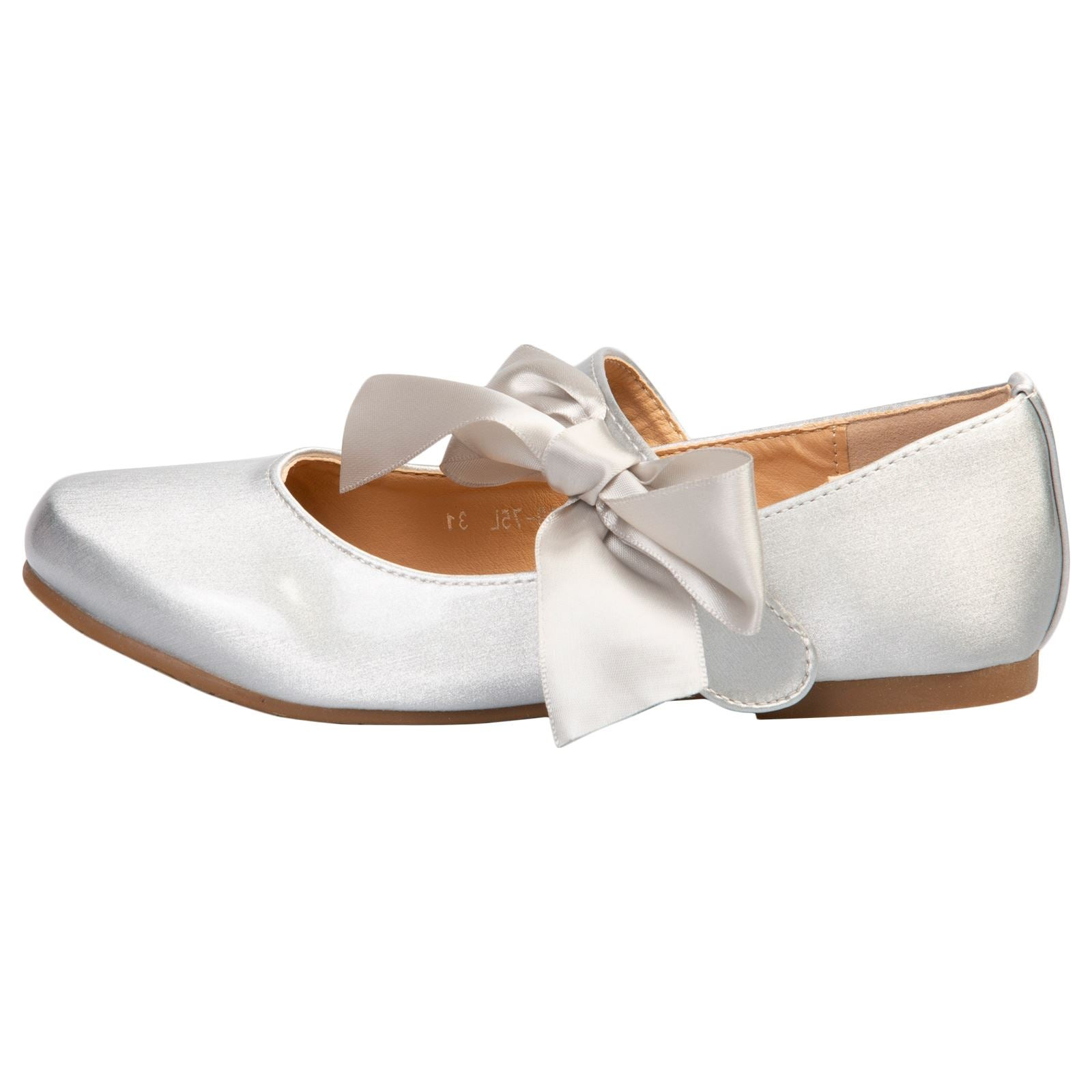 Zaniyah Girls Bow Detail Mary Janes in Silver Patent - Feet First Fashion