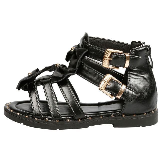 Larissa Girls Satin Bow Detail Gladiator Sandals in Black Faux Leather - Feet First Fashion