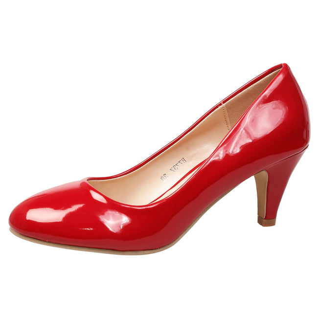 Leona Mid Heel Court Shoes in Red Patent