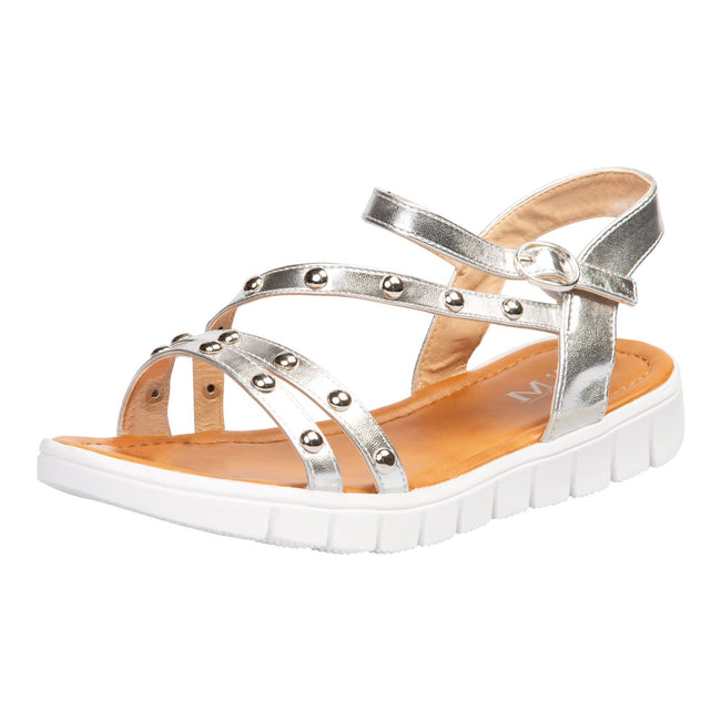 Violet Studded Sandals in Silver Faux Leather - Feet First Fashion