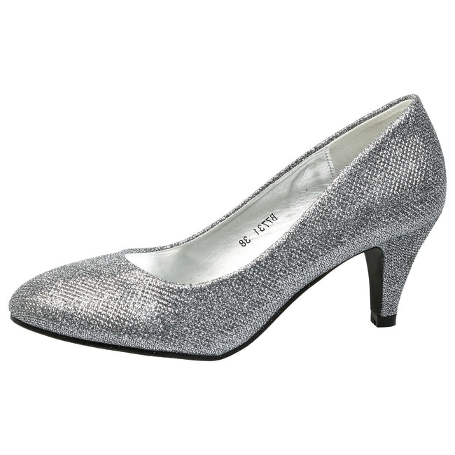 Leona Mid Heel Court Shoes in Grey Shimmer