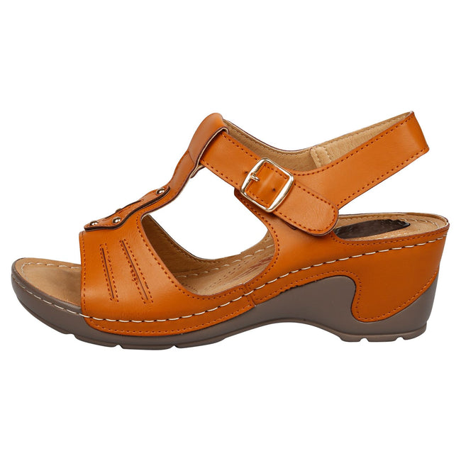 Brittany Cushioned Lightweight Wedge Heel Sandals in Camel Faux Leather