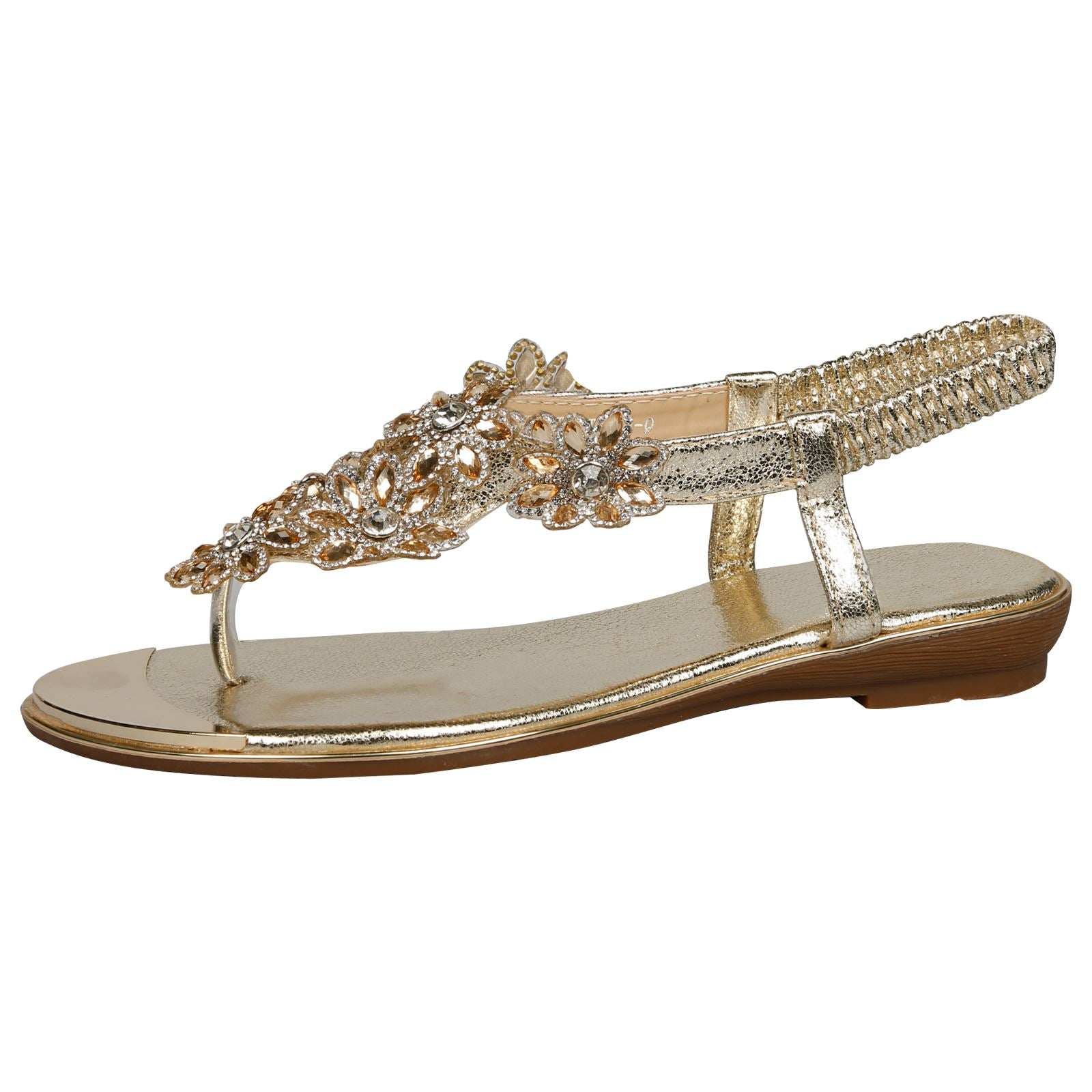 Tayla Floral Diamante Sandals in Gold