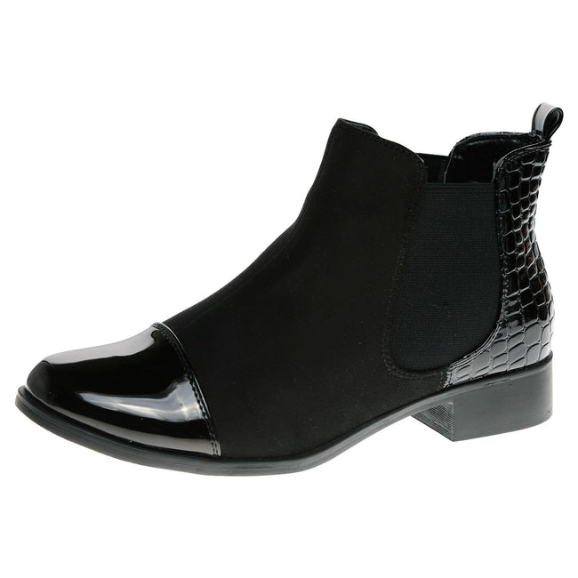 Chessa Patchwork Chelsea Boots in Black Patent / Faux Suede