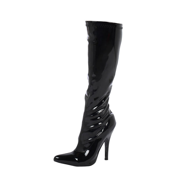 Candy Stiletto Heel Knee High Boots in Black Patent