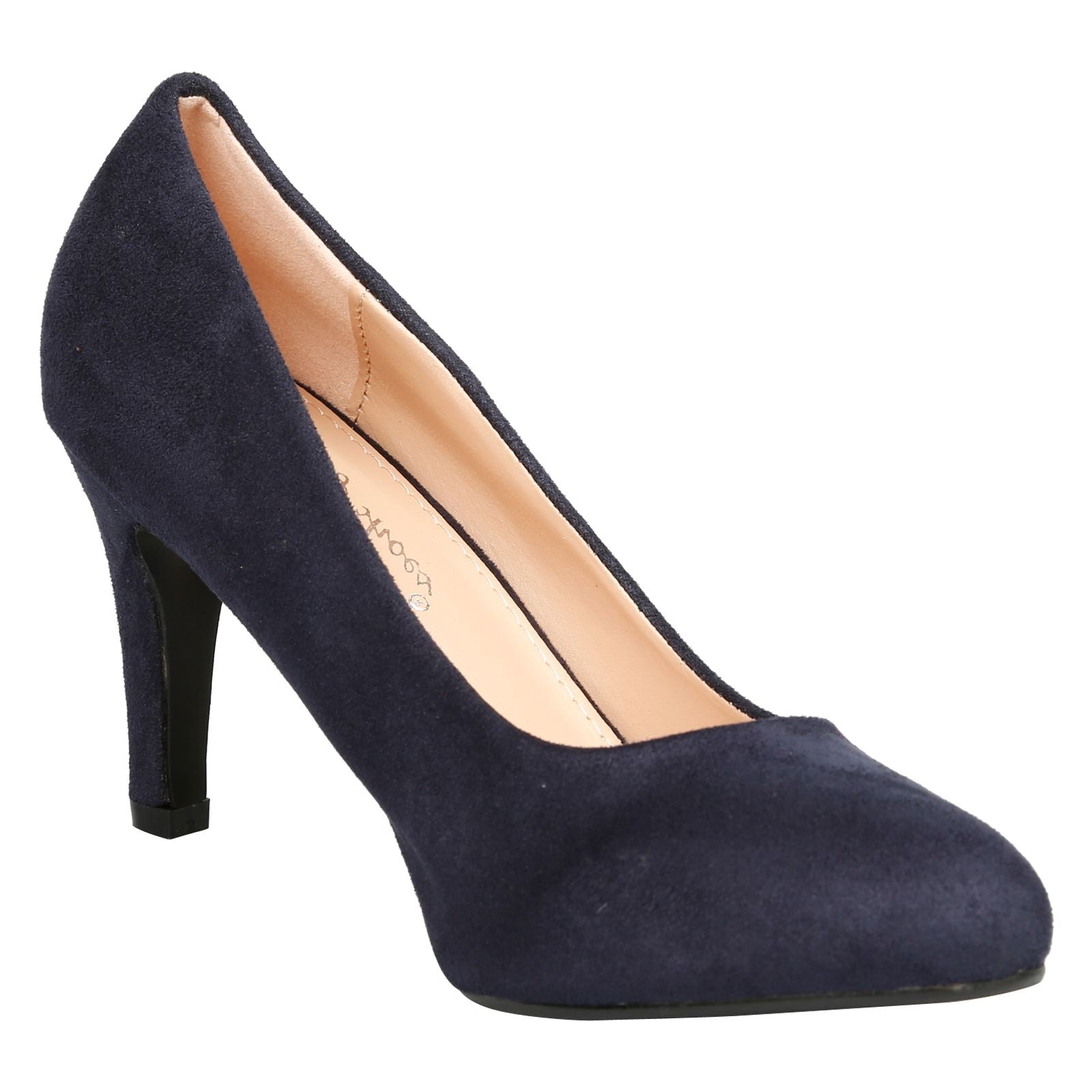 Amiya Slim Heeled Shoes in Dark Blue Faux Suede - Feet First Fashion