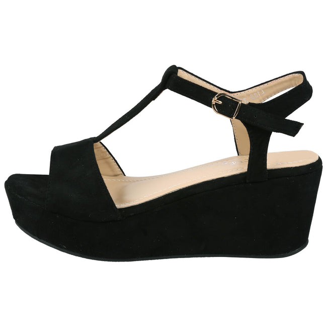 Moana Wedge Heel T Bar Sandals in Black Faux Suede