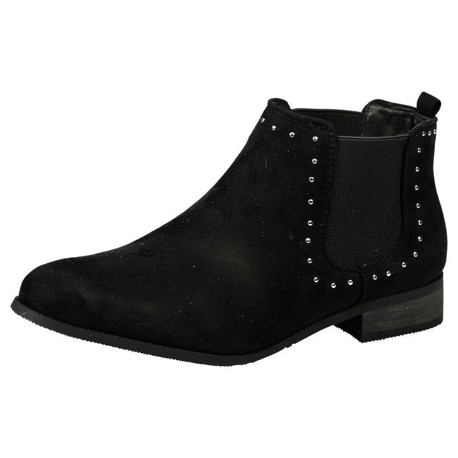 Leta Studded Chelsea Boots in Black Faux Suede