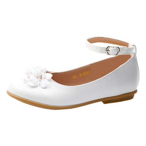 Nellie Girls Floral Ballerinas in Silver Faux Leather