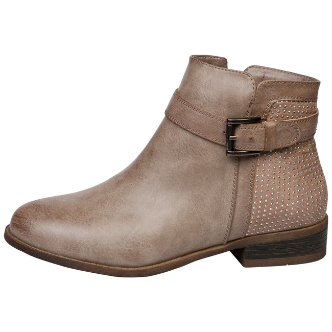 Amirah Diamante Ankle Boots in Khaki Brown - Feet First Fashion