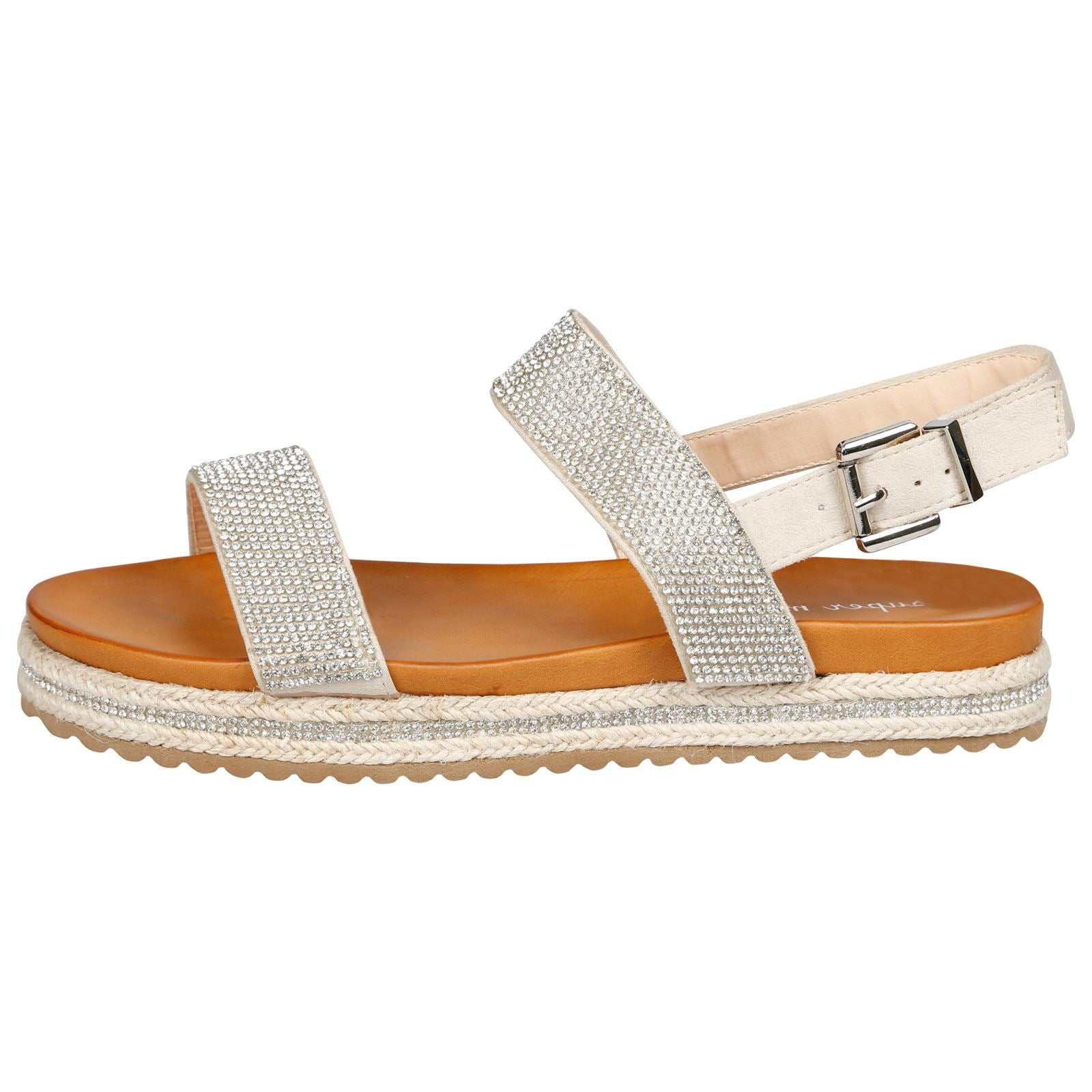 Kimora Diamante Espadrille Sandals in Beige Faux Suede