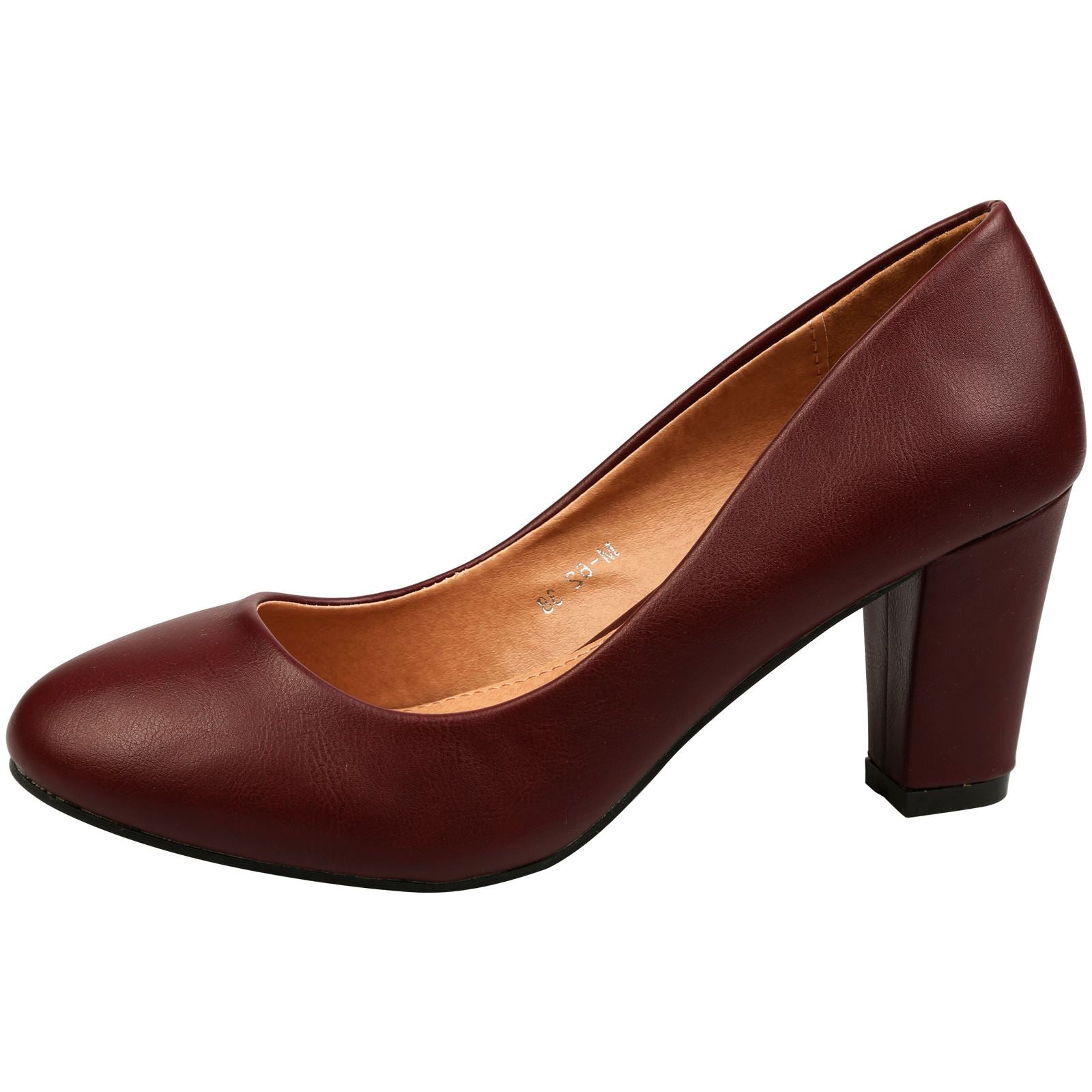 Reeva Block Heel Court Shoes in Wine Faux Leather