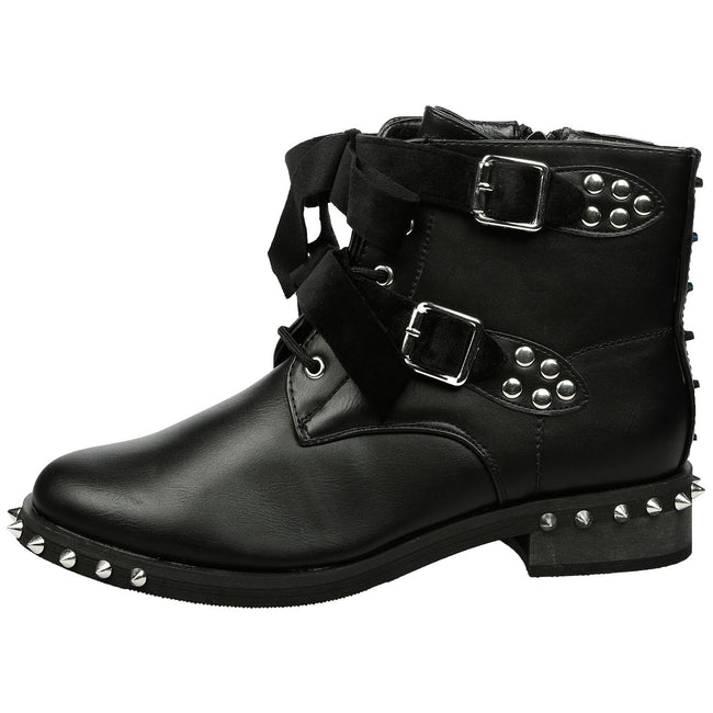 Heather Studded Biker Ankle Boots in Black Faux Leather