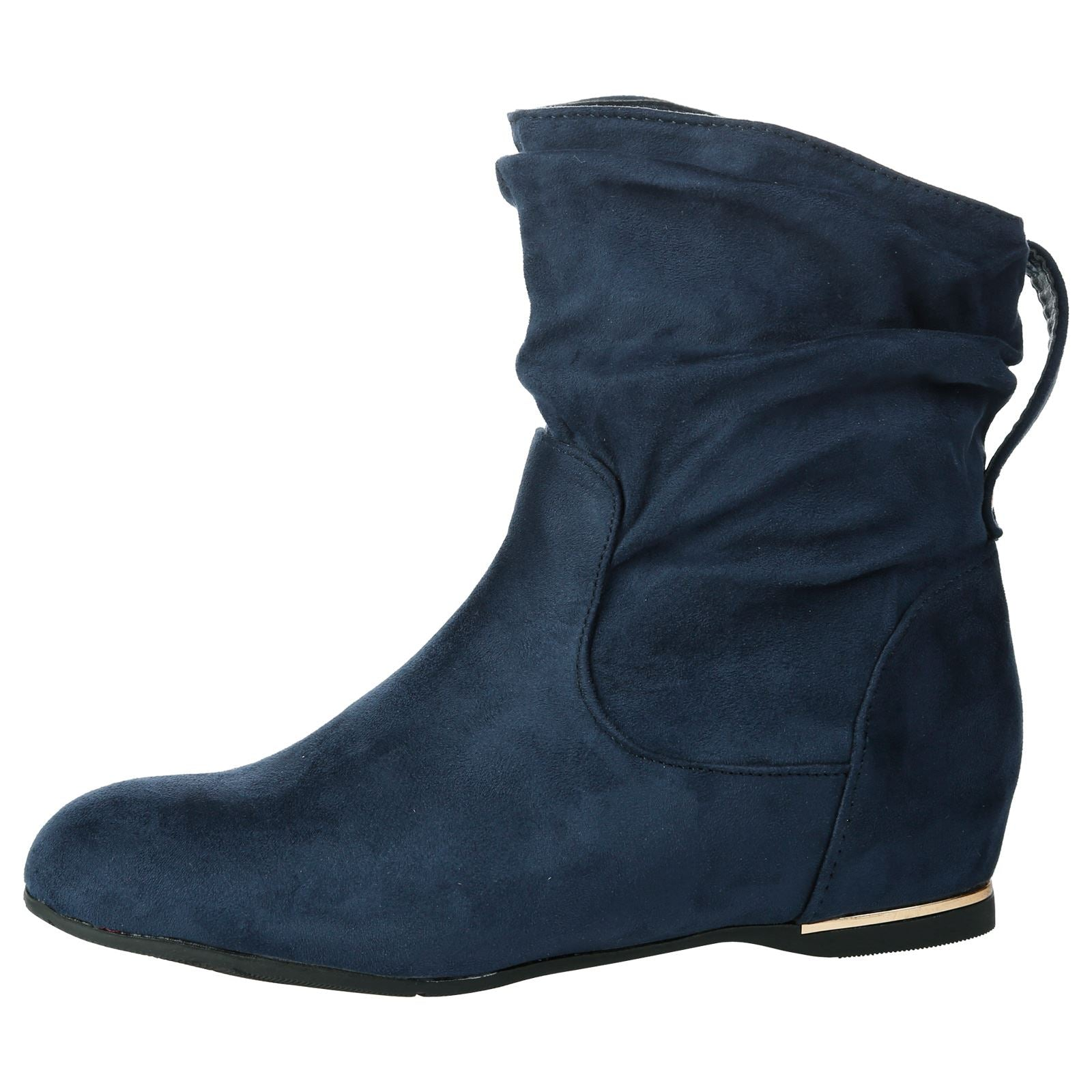 Daphne Hidden Wedge Slouchy Ankle Boots in Navy Blue Faux Suede