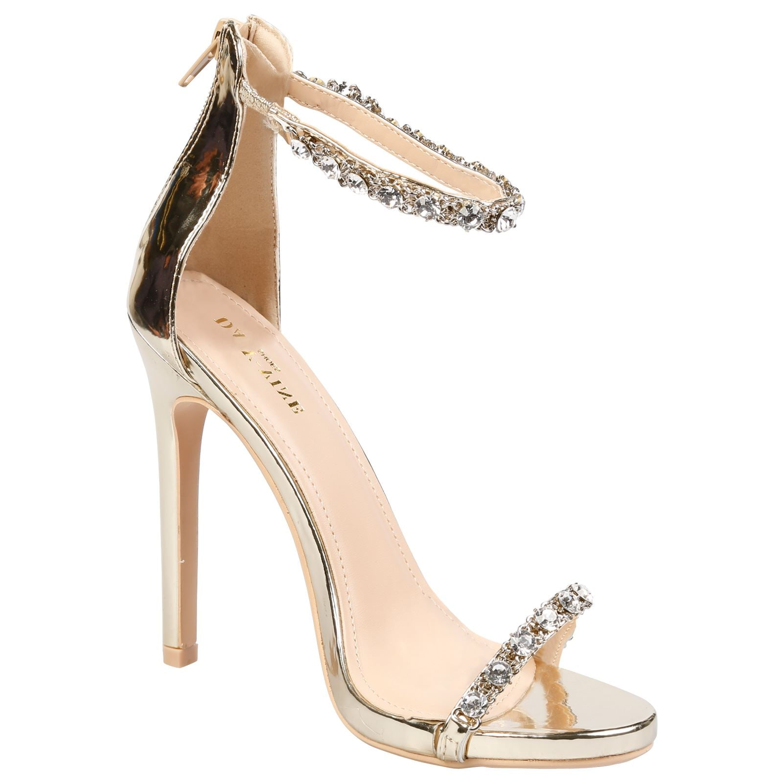 Laura Diamante Ankle Strap Sandals in Gold