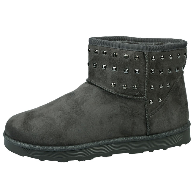Tonya Studded Ankle Boots in Grey Faux Suede