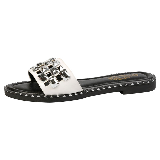 Nya Jewelled Sliders in White Faux Leather