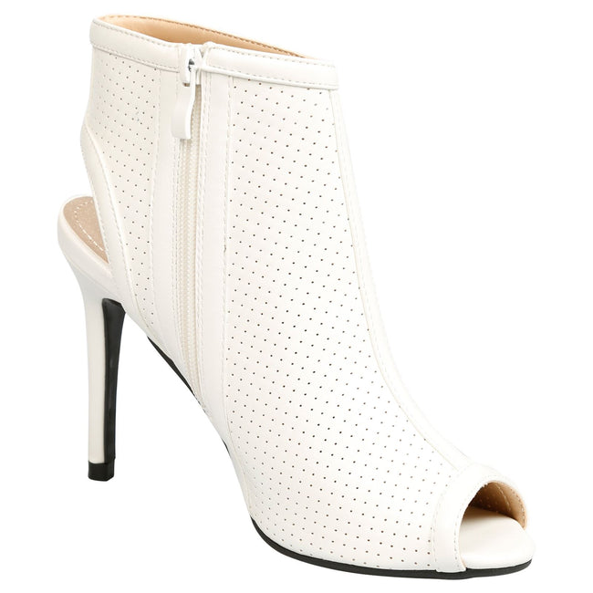 Eura Peep Toe Stiletto Ankle Boots in White Faux Leather